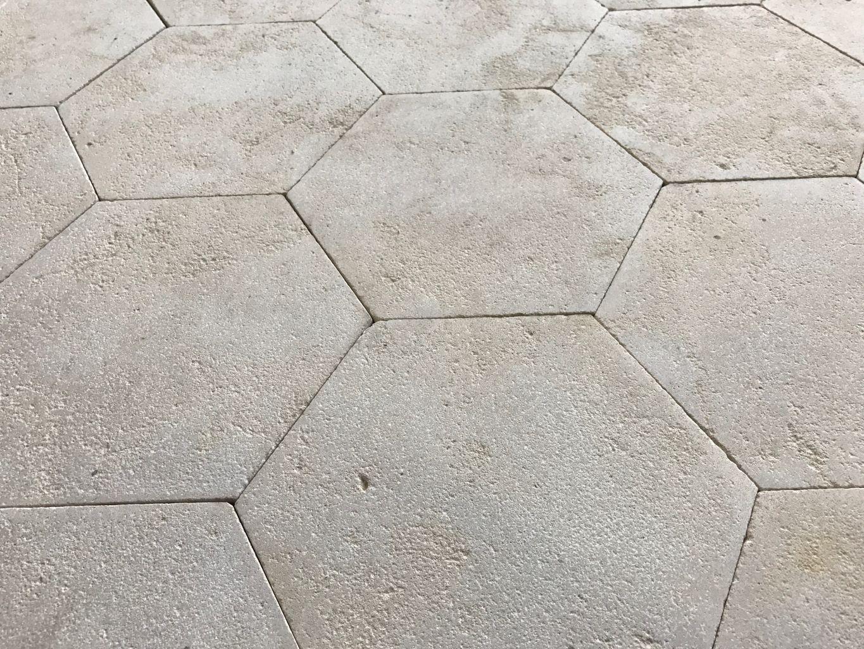 Antiqued Limestone Hexagon Tiling Replicate Historic