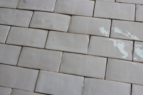 White glazed terra cotta tiles