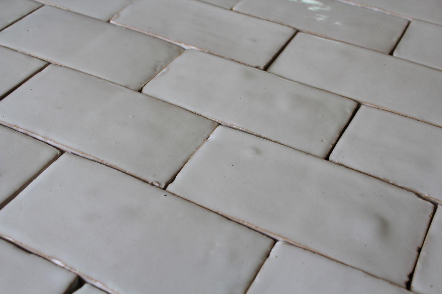 Hand Made White Glazed Terra Cotta Tiles Bca Antique