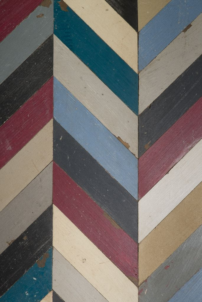 Multi Coloured Painted Oak Chevron Parquet