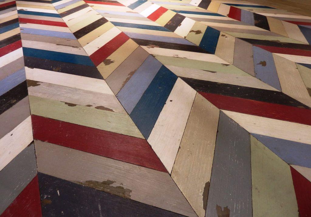 multi coloured painted oak chevron parquet. Black Bedroom Furniture Sets. Home Design Ideas