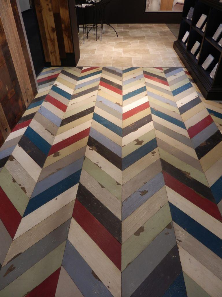 Multi Coloured Painted Oak Chevron Parquet