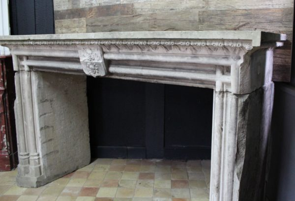 french Gothic Revival stone fireplace