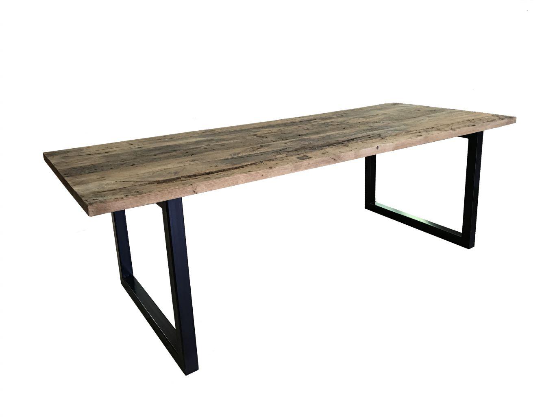 long tables with oak wagon board top bca mat riaux anciens. Black Bedroom Furniture Sets. Home Design Ideas