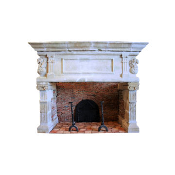 antique fireplace in reclaimed stone
