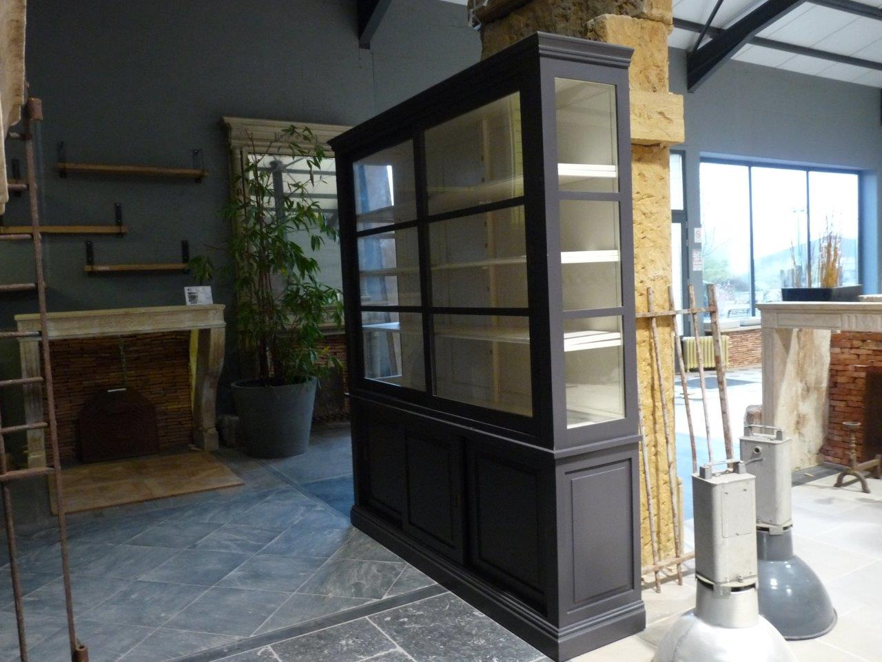 biblioth que vitr e moderne couleur gris bca mat riaux anciens. Black Bedroom Furniture Sets. Home Design Ideas