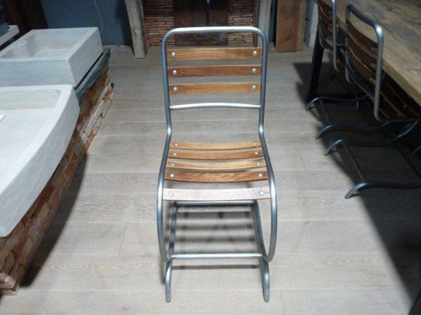 chaise industriel métal et bois