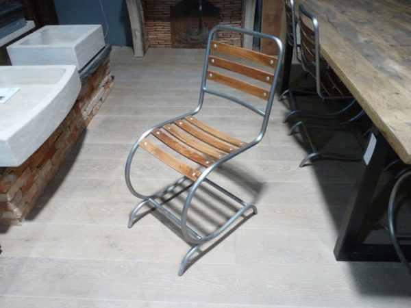 wood and metal chairs