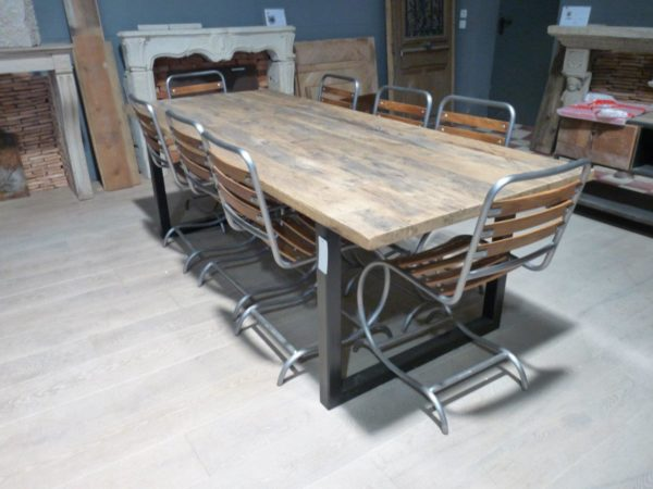 wood and metal chairs with dining table