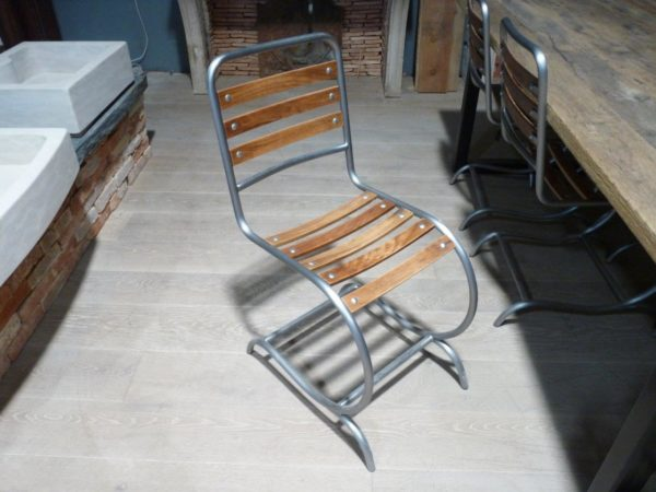 wood chairs with industrial metal