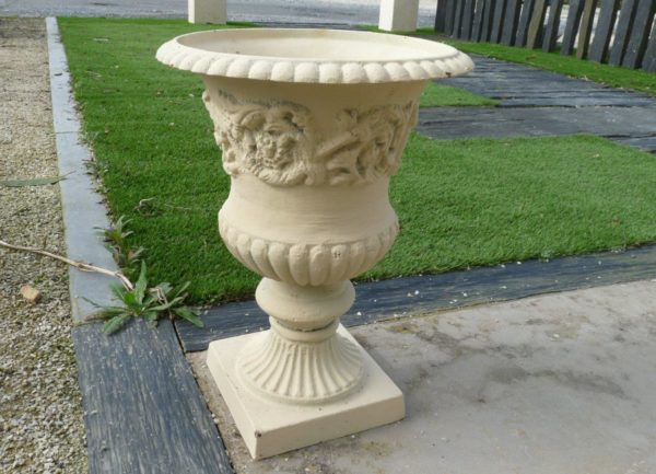 cast iron vase white colored