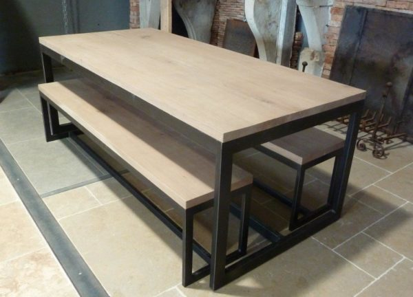 dining table for kitchen with industrial design benches