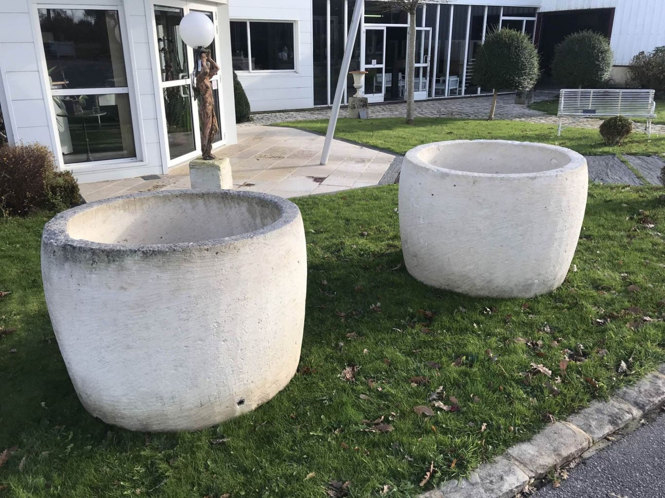 Pair of antique french limestone huge tubs bca antique for Limestone tub