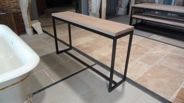 metal console oak design top