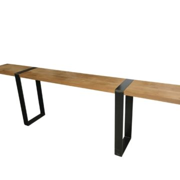 oak and metal console