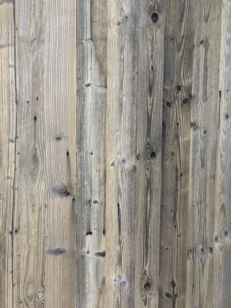 Reclaimed pine panels in grey tones brushed wood