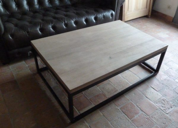 small coffee table in metal and oak