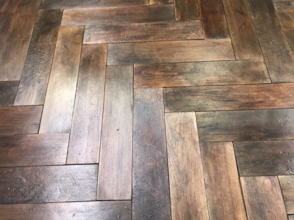 reclaimed herringbone parquet flooring
