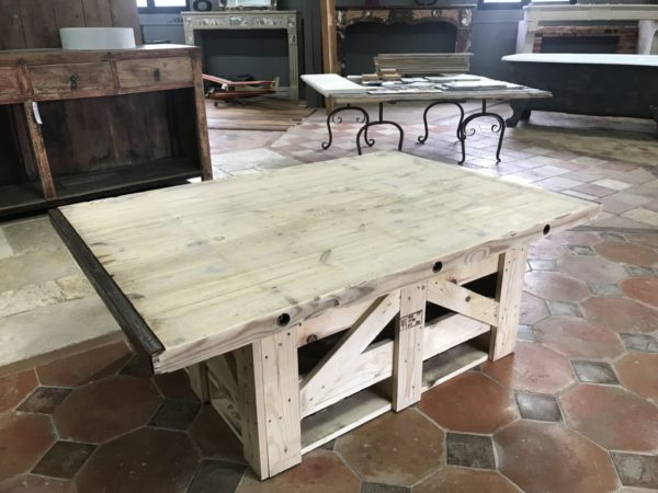 table basse en vieux bois de sapin
