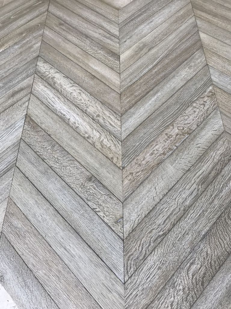 Oak Chevron Parquet Flooring With Antique Worn Grey Patina