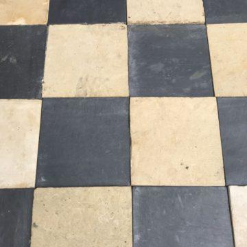 Antique stone floor black & white check