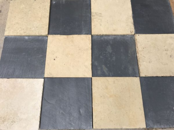 reclaimed stone with black and white check