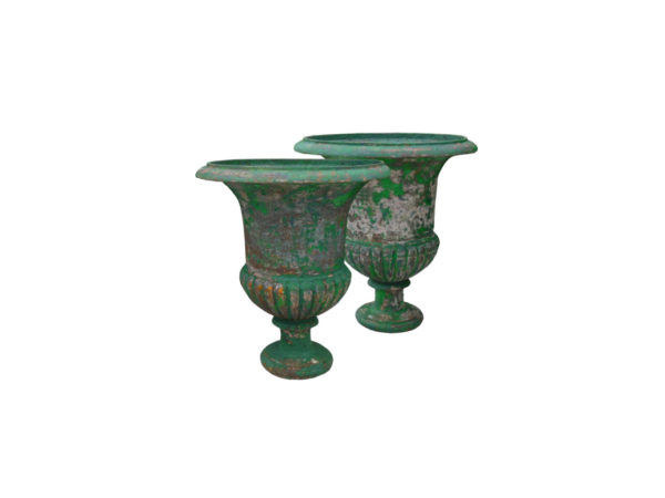 Paire vase medicis ancien en fonte vert