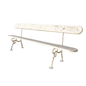 full white bench antique wood and iron