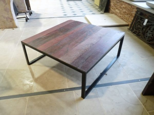 coffee table iron and red oak