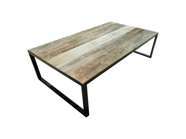 large coffee table in oak and iron