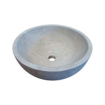 rounded grey sink ready to use