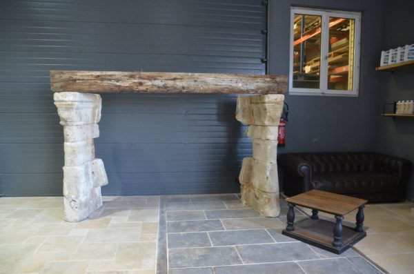 antique limestone and oak fireplace french