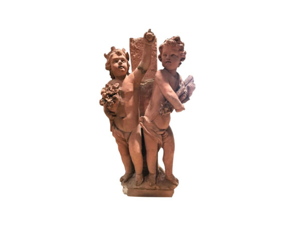 putti terra cotta pair of statue