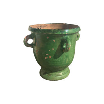 glazed terra cotta vase green color for antique garden