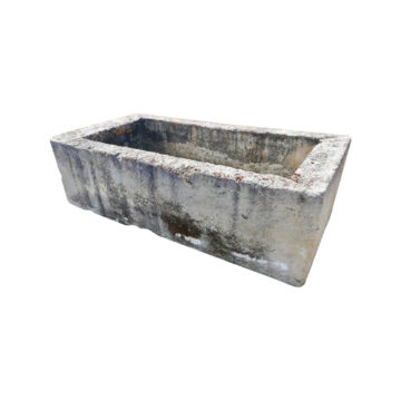 antique stone trough white background