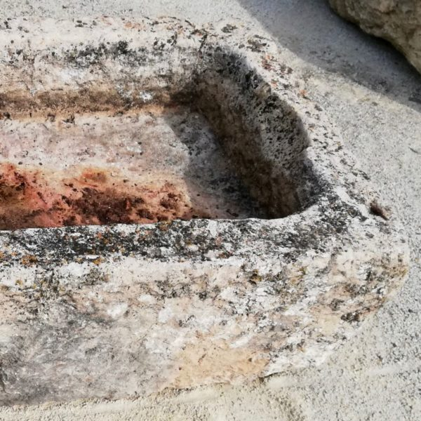 antique limestone stone trough with authentic patina
