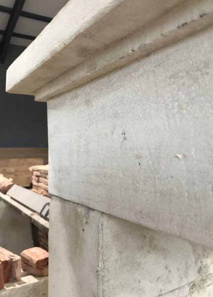 limestone fireplace details of lintel