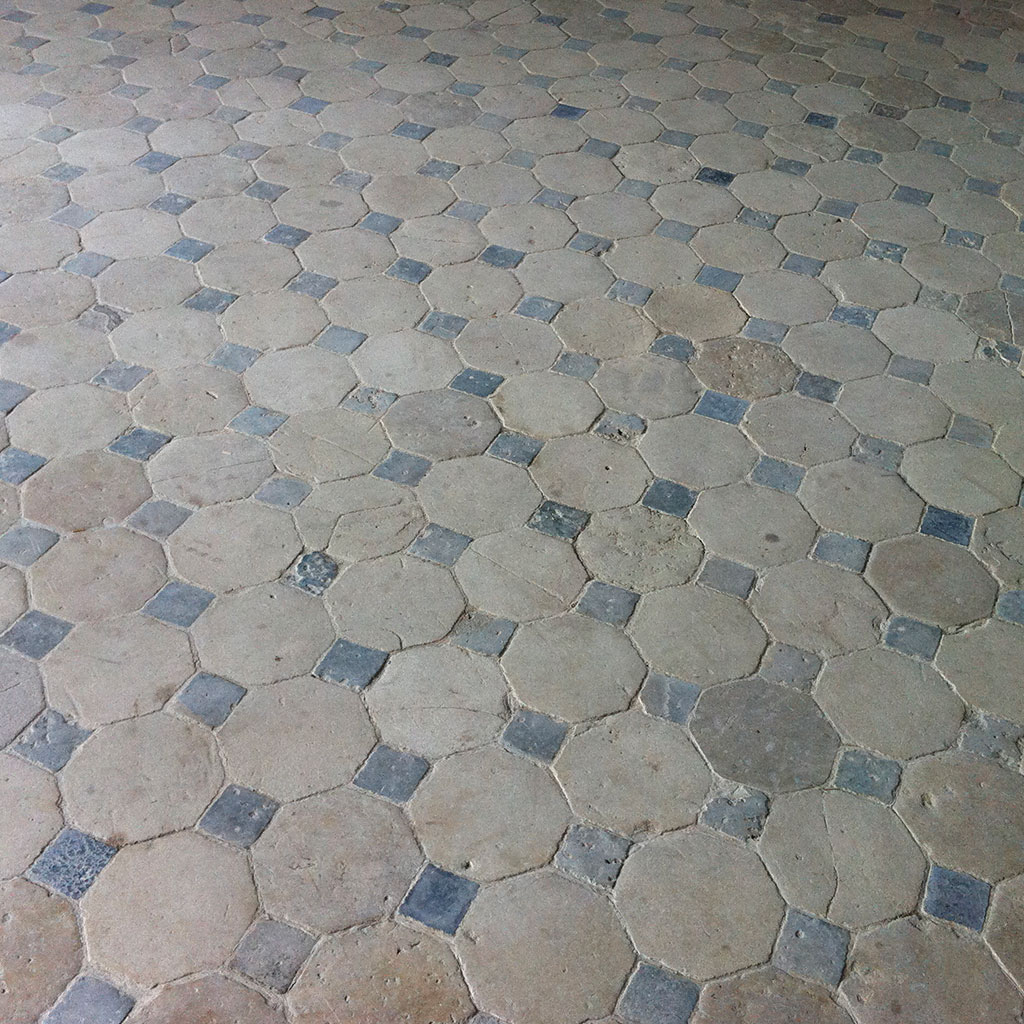 antique cabochon stone floor at the chateau crosville
