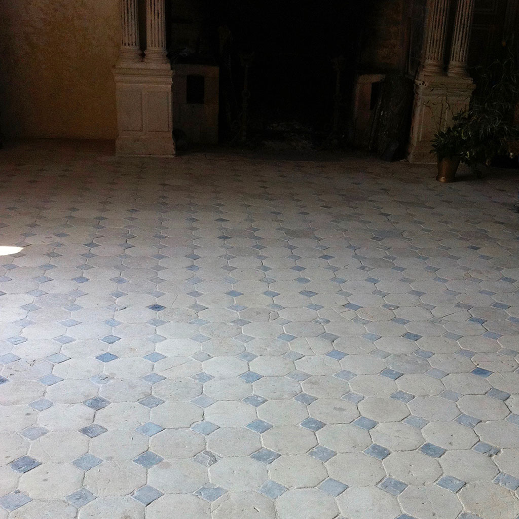 antique stone floor crosville chateau in France