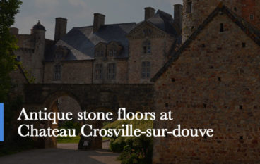 antique stone floors at chateau crosville in normandy france