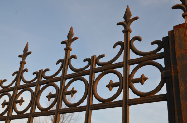 many details of the iron and cast iron entrance gates
