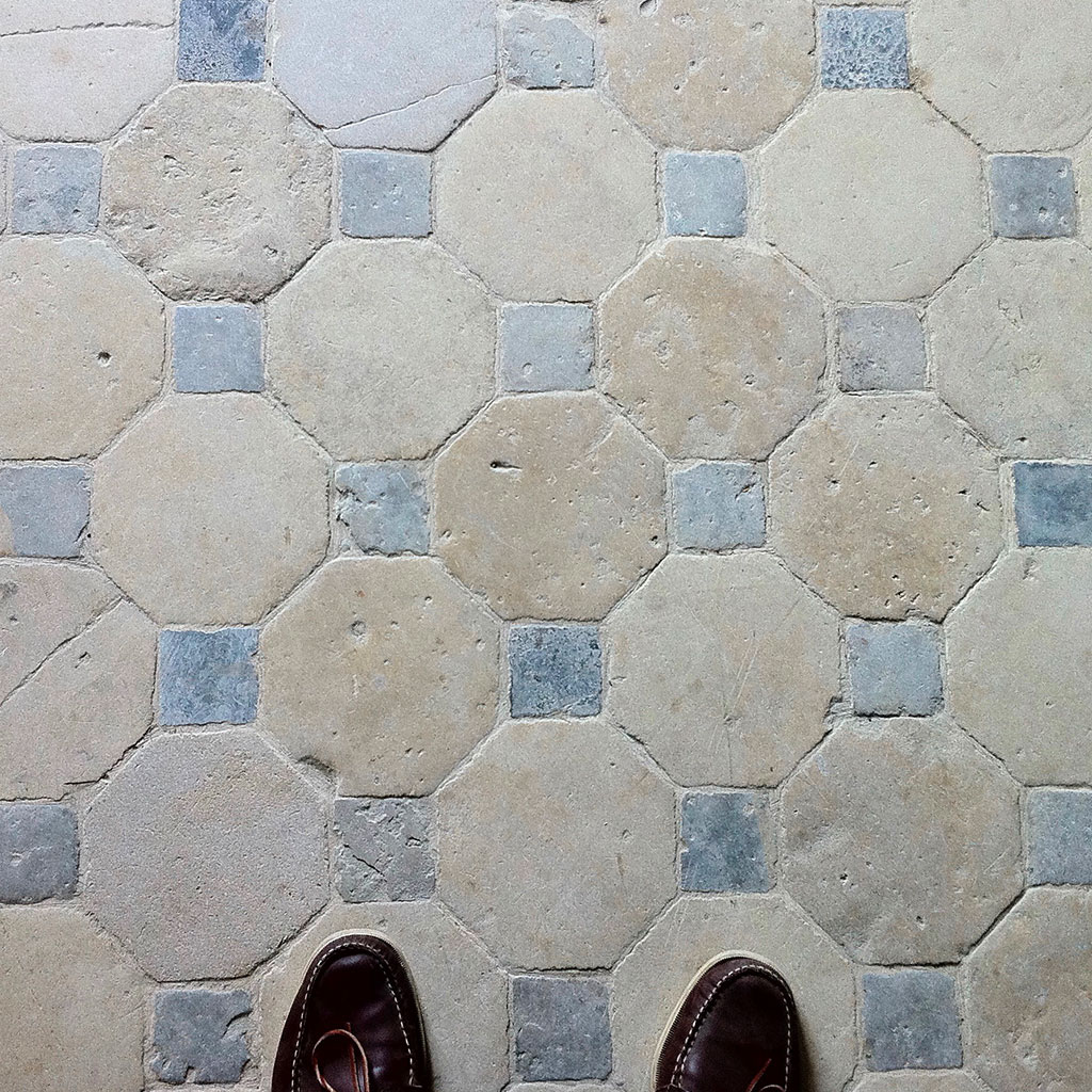 old cabochon stone floor at the castle