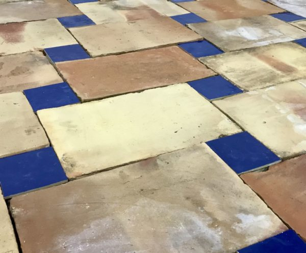 antique terracotta with glazed blue tiles