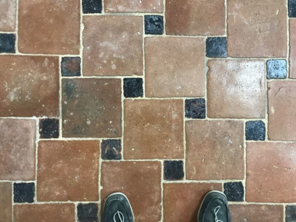 reclaimed terracotta tiles with glazed zellige