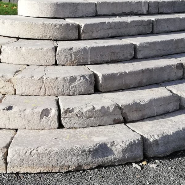salvaged antique stone steps grand entrance
