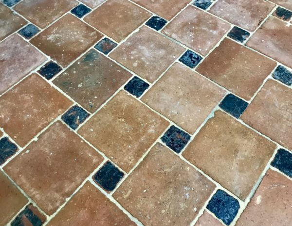 salvaged antique terracotta squared tiles