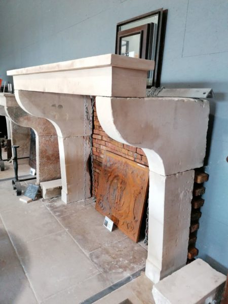 antique farmhouse fireplace mantel in a different side