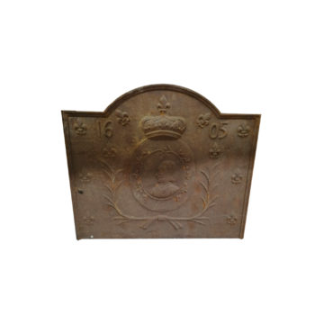 cast iron fireback with crown and fleur de lys