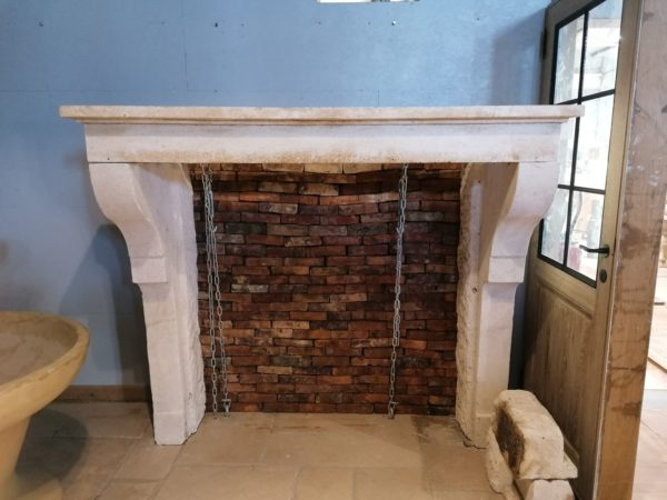 antique fireplace mantel in limestone old