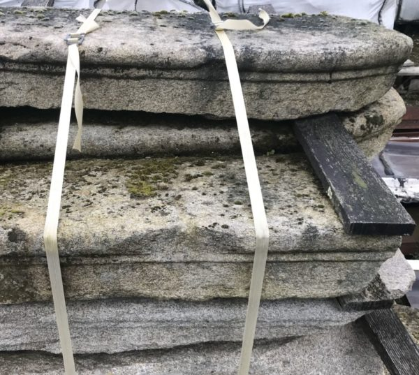 Stock picture of the antique reclaimed granite stairs